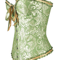 Jacquard Print Ruffled Bow Tie Corset