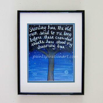 Dave Matthews Band Dreaming Tree Song Lyrics Art Quote Print - DMB Music Art Signs with Sayings - Wall Art Quotes