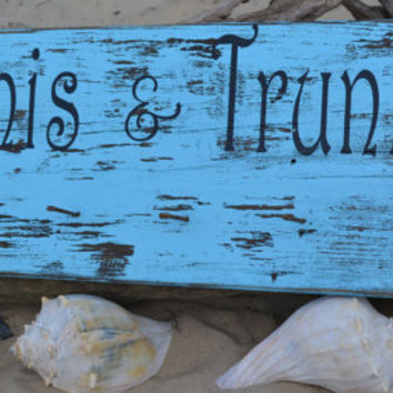 NEW Unique Beach Decor, Cute Hanger for Towels, Swimsuits, Indoor or Outdoor, Distressed, Vintage, Rustic Hand Painted (No Vinyl) Wood Sign