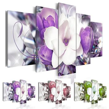 (Unframed, Only Print) Canvas Print Modern Abstract Flower Floral Orchid Painting Home Decoration Gift for Love, Choose Color &