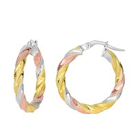 14K Yellow And White Rose Gold Twisted Round Hoop Earrings, Diameter 20mm