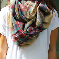 Mad About Plaid Infinity Scarf- Tan