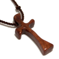 Men's Cross Necklace - Recycled Reclaimed Redwood Burl Wooden Religious Pendant - Gifts Under 20