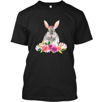 Easter Bunny T-Shirt with Watercolor Flowers Womens Girls Custom Ultra Cotton