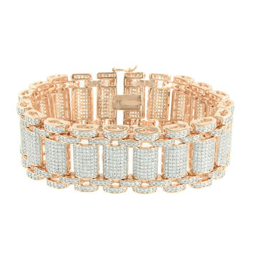 Mens Bracelet 14K Rose Gold Finish Micro Pave