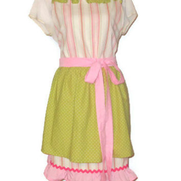 Pink Pastel Stripe Full Apron with Double Skirt - Adult