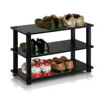 Furinno 13080EX/BK Turn-S-Tube 3-Tier Shoe Rack, Espresso/Black