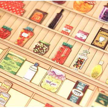Fresh jam sticker Grocery store label sticker Supermarket food icon label  deco shopping list mini doll food diy cooking recipes note book