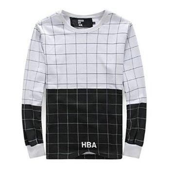 Bigbang Gd HBA Hood By Air Grid Black White Lovers Extended Long T Shirts
