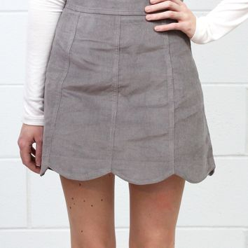 Scalloped Hem Corduroy Mini Skirt {Mushroom}