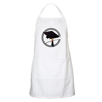 GRADUATION CAP WITH DIPLOMA, BLACK AND WHITE APRON