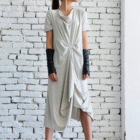 NEW Light Grey Casual Dress/Asymmetric Loose Tunic/Short Sleeve Long Top/Grey Maxi Dress/Oversize Kaftan/Plus Size Every Day Dress