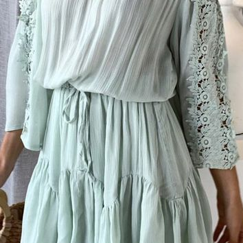 Feel The Romance Mint Lace Embroidery 3/4 Bell Sleeve Off The Shoulder Tie Waist Casual A Line Flare Mini Dress