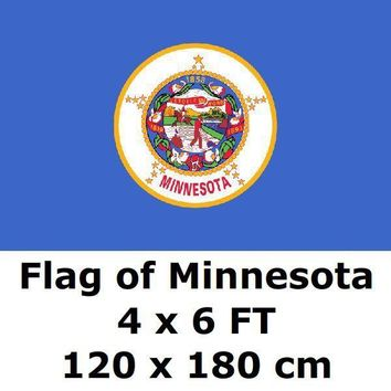 Minnesota Flag 4` x 6` FEET 100D Polyester State of US USA American United States Flags and Banners For Home Decoration