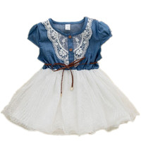 2016 new fashion Girls baby Lace Belt tutu cowboy dress children Patchwork dresses for girl
