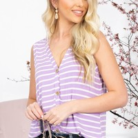 Dolly Striped Button-Up Top | Lavender