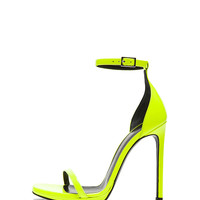 Jane Leather Ankle Strap Sandals in Neon Yellow