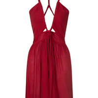Dark Red V Neck Cross Strap Open Back Skater Dress