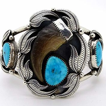turquoise bear claw cuff bracelet silver, mens cuff bracelet turquoise silver, Native American cuff bracelet, Native American Indian jewelry