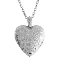 1.5 Inch Engraved Flowers Heart Locket W/28 Inch Chain