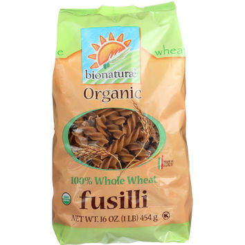 Bionaturae Pasta - Organic - 100 Percent Whole Wheat - Fusilli - 16 Oz - Case Of 12