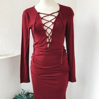 ALYSSA DRESS - BURGUNDY