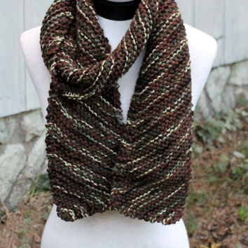 Hand Knit Scarf - diagonal pattern squishy camouflage color