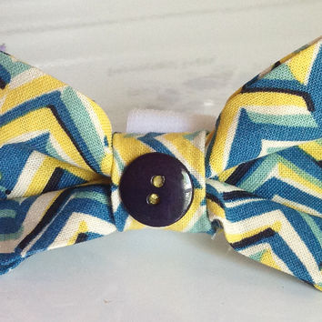 Blue & Yellow Chevron Bow Tie for Dog or Cat