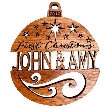 Custom Personalized Laser Engraved First Christmas Bauble Wooden Christmas Tree Ornament Gift Seasonal Decoration
