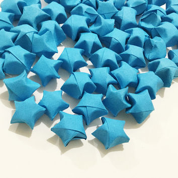 Origami Lucky Stars | Plain Blue Paper Stars | Handmade Folded Wishing Star |Craft Party Wedding Thanksgiving Christmas Decoration Confetti