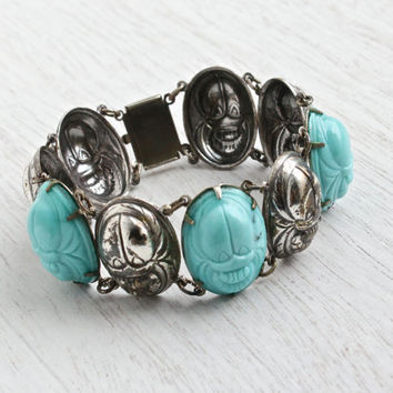 Vintage Glass Stone Scarab Bracelet - Retro Silver Tone Egyptian Revival Cabochon Statement Panel Costume Jewelry / Teal Blue Beetles
