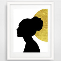 Gold and black, Afrocentric, black woman, African art, modern home decor, Africa print, African wall art, African woman silhouette