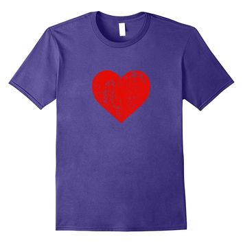 I Love You Red Heart Distressed Valentine's Day T Shirt