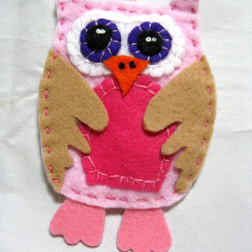 Felt Owl Christmas Ornament, Unbreakable Felt Owl Ornament, Handmade Owl Christmas Ornament,Baby Girl 1st Christmas Ornament,