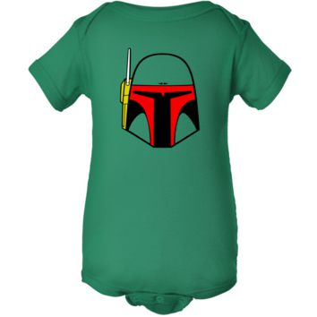 """Star Wars Inspired Boba Fett"" Green Creeper Baby Onesuit"