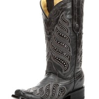 Corral Black Crystal Inlay Square Toe Boots C2857