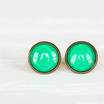 Kelly Green Framed Earrings- Antique Bronze Stud Earrings