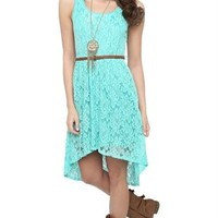 Lace High Low Dress with Faux Leather Belt