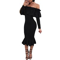 Black Long Sleeve Ruffle Off Shoulder Dress