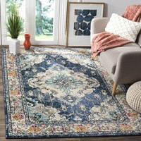 Safavieh Monaco Bohemian Medallion Navy / Light Blue Distressed Rug (6' 7 x 9' 2) | Overstock.com Shopping - The Best Deals on 5x8 - 6x9 Rugs