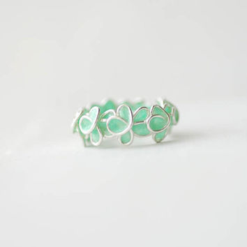 Mint Green Forget Me Not Ring in Sterling Silver, Wedding Anniversary Artisan Jewelry....