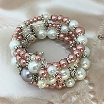 Cream & Pink Memory Wire Bracelet- Pearl Cuff bracelet - Bridal Accessories - Bride Glass Pearl Bracelet-Wedding Bangle- Pearl Cuff TDC480