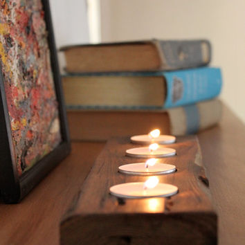 Tea Light Runner - Table Decor - Wooden Tea Light Holder - Reclaimed Wood - Home Decor - Etsy Weddings