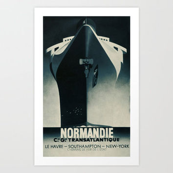 Vintage French Normandie Ocean Liner Graphic Poster Ad Ship Boat Art Print by Iconographique
