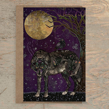 I Don't Speak Human - Greeting Card, Animal Card, Wildlife Card, Wolf Card, Wolves, Raven Card, Crow, Fantasy Art, Illustration, Art Card
