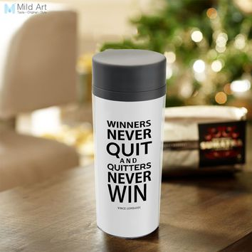Personalized  BPA Free Plastic Insulated Minimalist Black White Motivational Typography Life Quotes Water Bottle 300ml Gifts