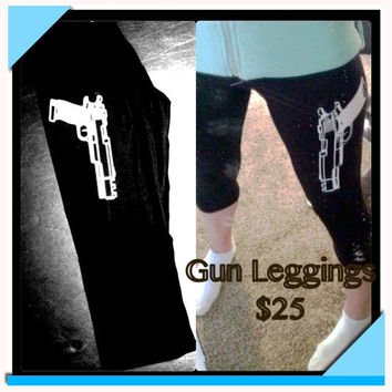 Women's Gun Leggings S M L  by LeiaLove00 on Etsy