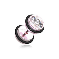 A Pair of Vibrant E-Coat Gem Top Fake Plug with O-Rings (Light Pink/Clear)