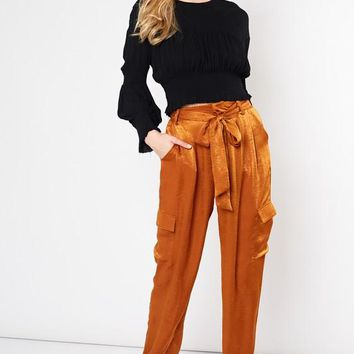 Rise And Shine Satin Jogger Pants in Copper