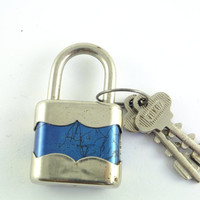 Vintage Working Padlock Silver Tone Padlock, Made in Czechoslovakia Fully operational